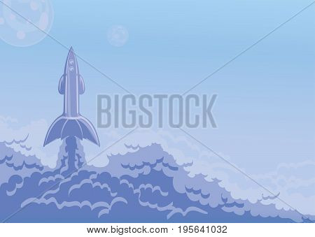 Rocket launch, flying space ship and cloud of smoke. Vector illustration with copy space.