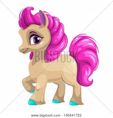 Cute cartoon little horse with pink hair. Vector pretty pony icon. Isolated on white background.