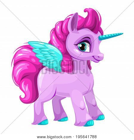Cute cartoon pegasus icon. Little funny unicorn, vector illustration. Isolated on white background.