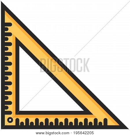 Simple Vector Icon of a classic angle ruler in flat style. Pixel perfect. Basic education element. School and office tool. Back to college.