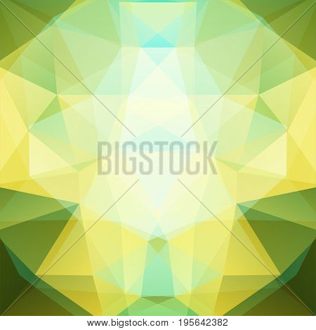 Background Made Of Yellow, Green, White Triangles. Square Composition With Geometric Shapes. Eps 10