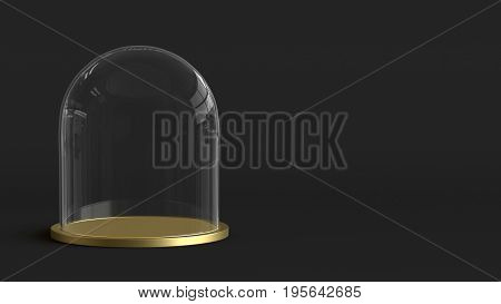 Glass dome with golden tray on dark background. 3D rendering.