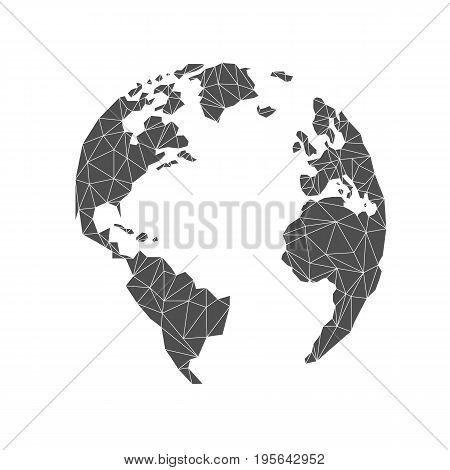 Lowpoly globe. America Europe Atlantic Ocean. Triangular. Vector illustration. Light background. Eps10.
