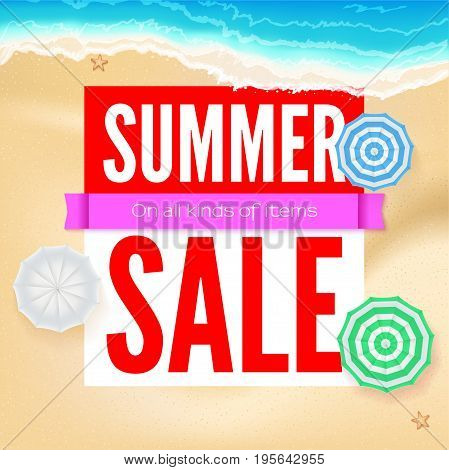 Summer sale, selling ad banner. Text design with sun umbrellas. Summer vacation discounts, sale background of the sandy beach and the sea shore. Template for online shopping, advertising actions.