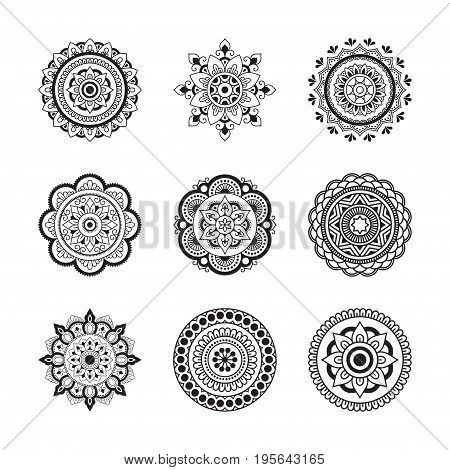 Set circular pattern in the form of mandala. Henna tatoo mandala. Mehndi style. Decorative pattern in oriental style. Coloring book page.