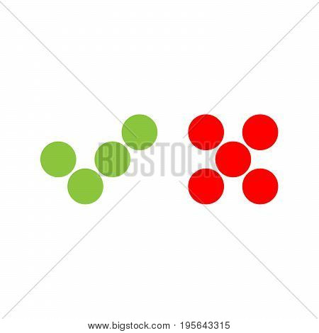 Check mark icons of dots. Green tick and red cross. Flat vector illustration isolated on white background.