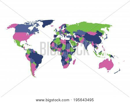 Political map of World in four colors isolated on white background. Vector illustration.