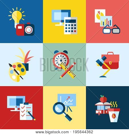Digital vector blue red work space icons set with drawn simple line art info graphic, presentation with clock, calculator and office supplies elements around promo template, flat style