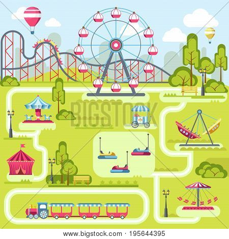 Amusement park attractions plan or layout template. Vector merry-go-round carousel, Ferris wheel, electric cars or children train and entertainment circus, hot air balloon and roller coaster