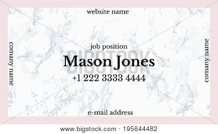 Trendy pink and gray marble. Business card template. US standard size 3.5x2 in. With bleed size 0.125 in. Vector. Minimal and official style. Square concept.