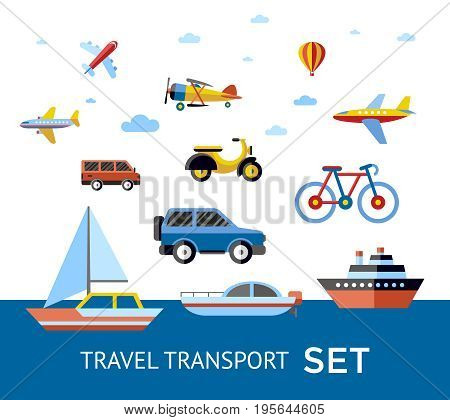 Digital vector blue red travel transport icons set with drawn simple line art info graphic, presentation with car, plane and vehicle elements around promo template, flat style