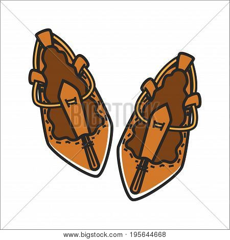 Bulgarian traditional ethnic leather woman shoes tsarvuli. Vector isolated icon symbol of Bulgaria folk craft culture and travel