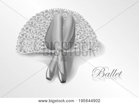 black and white illustration ballerina in a tutu lying on the floor. Her legs in silk pointes in the foreground