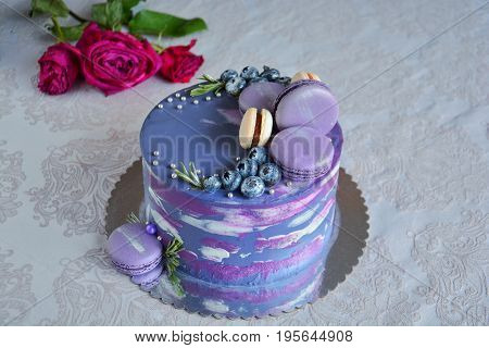 Luxury dark blue cake decorated with macaroons on White background with red rose
