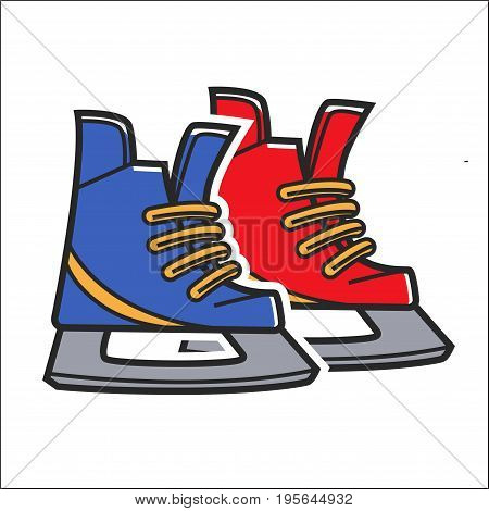 Canadian hockey skates for ice skating. Canada traditional national winter sport symbol. Vector isolated flat icon for culture and travel design