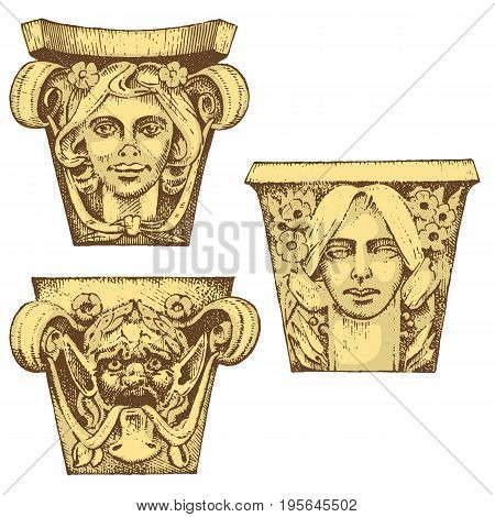 Detail ancient classic building. architectural ornamental elements. showing Tuscan, Doric, Ionic and Roman column. engraved hand drawn in old sketch, vintage and Antique, baroque or gothic style