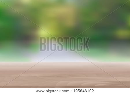 Wood Table Top on Abstract Blur Natural Green Background for Display or Montage Your Products Template for Ads, Announcement Sale, Promotion New Product or Magazine Background. 3D Realistic Vector Iillustration. EPS10