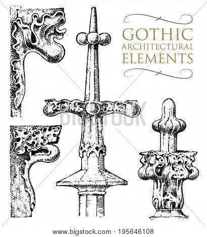Detail decorative ancient building. architectural classical ornamental elements, Limestone or orders. engraved hand drawn in old sketch, Greek and vintage design. Antique, baroque or gothic style