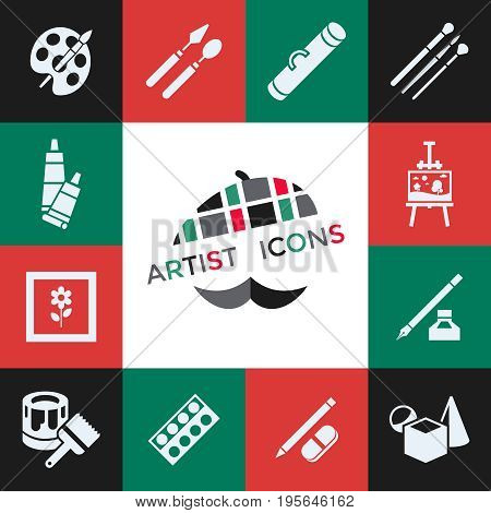 Digital vector green red artist icons set with drawn simple line art info graphic, presentation with paint, canvas, brush and art tools elements around promo template, flat style