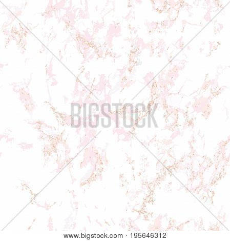 Trendy pink marble texture with rose gold. Patina effect. Seamless pattern. Overlay distress grain. Sequin rose gold. Holiday background. Blush color. Vector. EPS10.