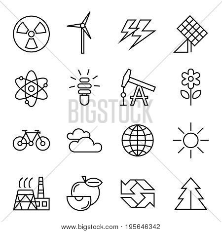 Digital vector black ecology icons with drawn simple line art info graphic, presentation with recycle, production and alternative energy circuit elements around promo template, flat