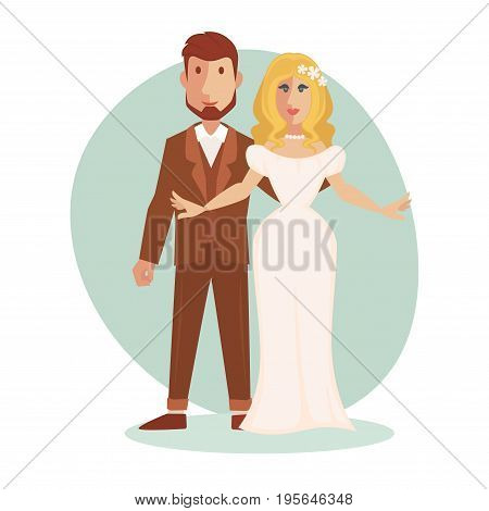 Vector illustration of young happy Just married couple newlyweds bride and groom. Isolated on white.