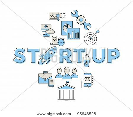 Digital vector blue red startup team icons with drawn simple line art info graphic, presentation with rocket, project and business elements around promo template, flat style