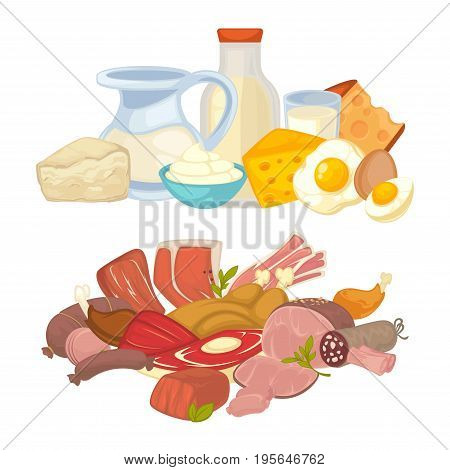 Food dairy and fresh meat of milk bottle, pork bacon brisket or cottage cheese or butter and egg, beef steak tenderloin and turkey chicken filet. Vector farm products flat icons set