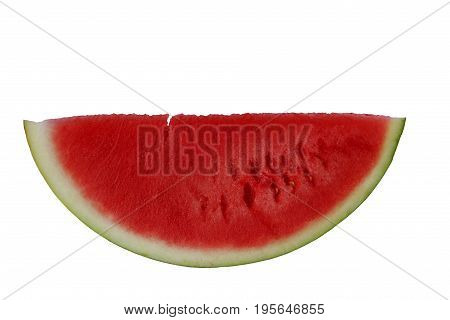 Piece of red watermelon on white background.