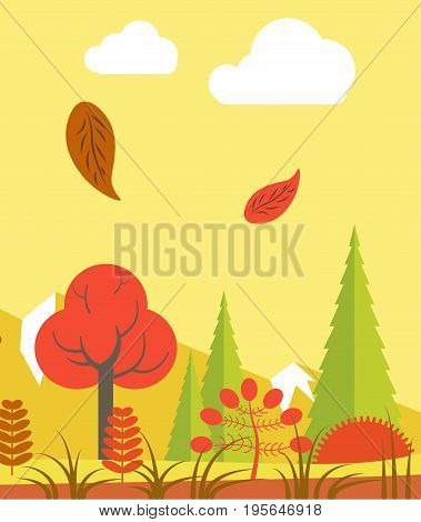 Vector illustration od red foliage falling in autumn forest in the evening.