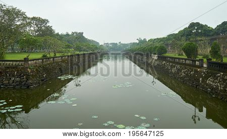 Water trench or moat in front of the entrance to the imperial city, vietnam