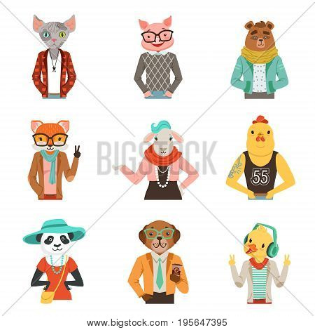 Cute humanized animals in fashion clothes set of vector Illustrations isolated on white background