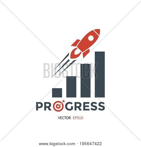Digital vector red black startup icons with drawn simple line art info graphic, presentation with rocket taking off and progress bar chart promo template, flat style
