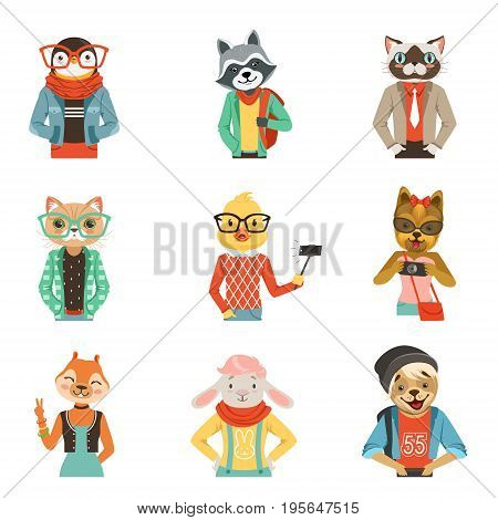 Cute humanized animals in modern and fashionable clothes set of vector Illustrations isolated on white background
