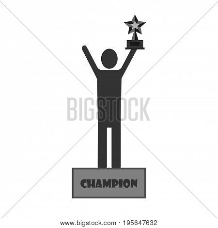 Champion man celebrating title icon. Vector on white background.
