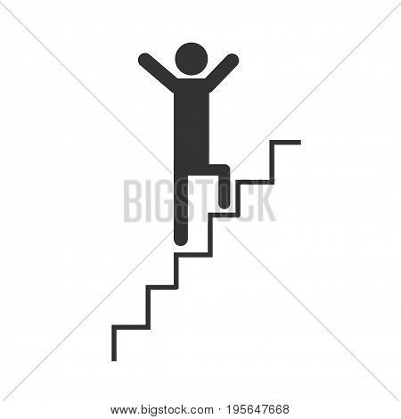 Man climbing stairs.Graphic vector icon. Walk icon.