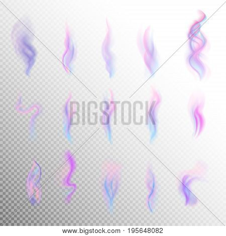 Colorful smoke on white background isolated. abstract realistic lilac violet blue smoke set. 3d illustration. vector. created with gradient mesh