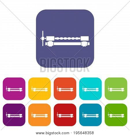 Blacksmiths clamp icons set vector illustration in flat style In colors red, blue, green and other