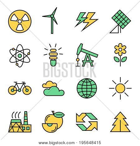 Digital vector yellow green ecology icons with drawn simple line art info graphic, presentation with recycle, production and alternative energy circuit elements around promo template, flat