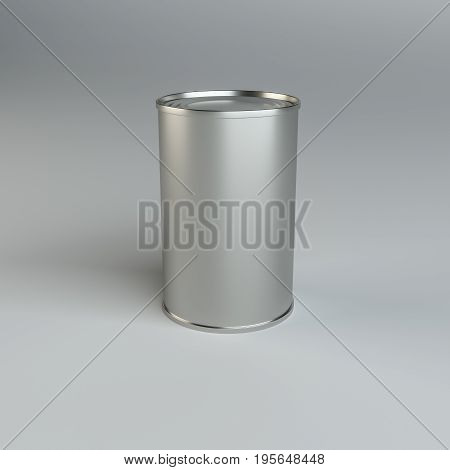 Metal tin can on gray background. 3d illustration. Mockup template ready for your design