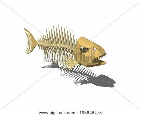 Fish skeleton. Isolated on white background. 3D rendering illustration.Polygonal style.