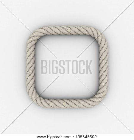 Rope frame in form of square. Isolated on white background.3D rendering illustration.