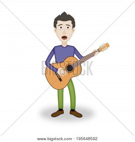 man sings and plays the guitar. Digital illustration.