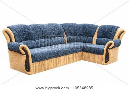 Blue sofa isolated on a white background. Brown sofa isolated on white include clipping path.