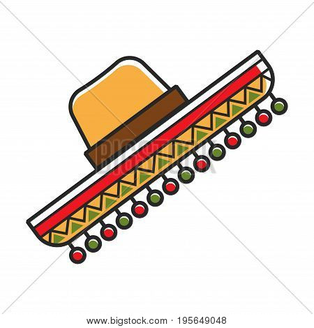 Sombrero traditional Mexican man hat symbol of Mexico travel or culture landmarks and tourist attractions. Vector flat isolated icon