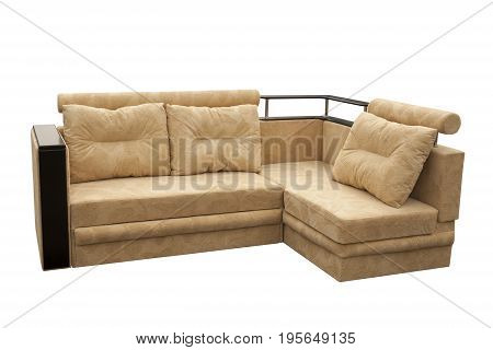Beige sofa isolated on a white background. Beige sofa isolated on white include clipping path.