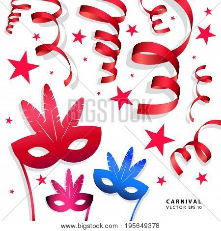 Digital vector blue red yellow carnival masks with drawn simple line art info graphic, presentation with ribbon strip and stars elements around promo template, flat