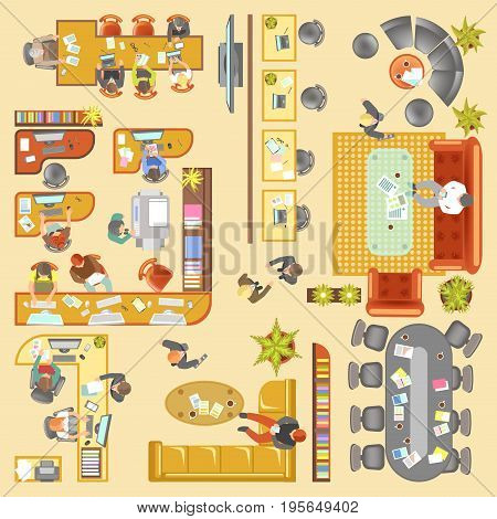 Office or company work place layout. Vector flat plan of agency furniture details, business lobby, guest man client waiting room, chef table and manager desk in conference room department. Top view