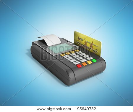 Credit Card Trminal Machine 3D Rendering On Blue