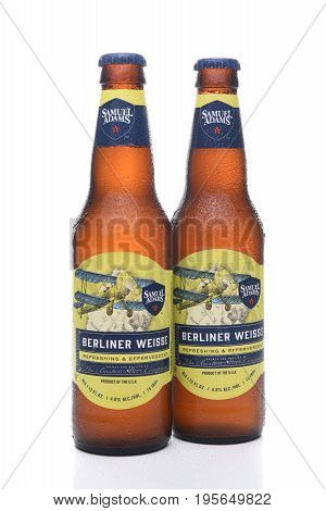 IRVINE CA - JULY 16 2017: Samuel Adams Berliner Weisse two bottles. From the Boston Beer Company. Based on sales in 2016 it is the second largest craft brewery in the U.S.